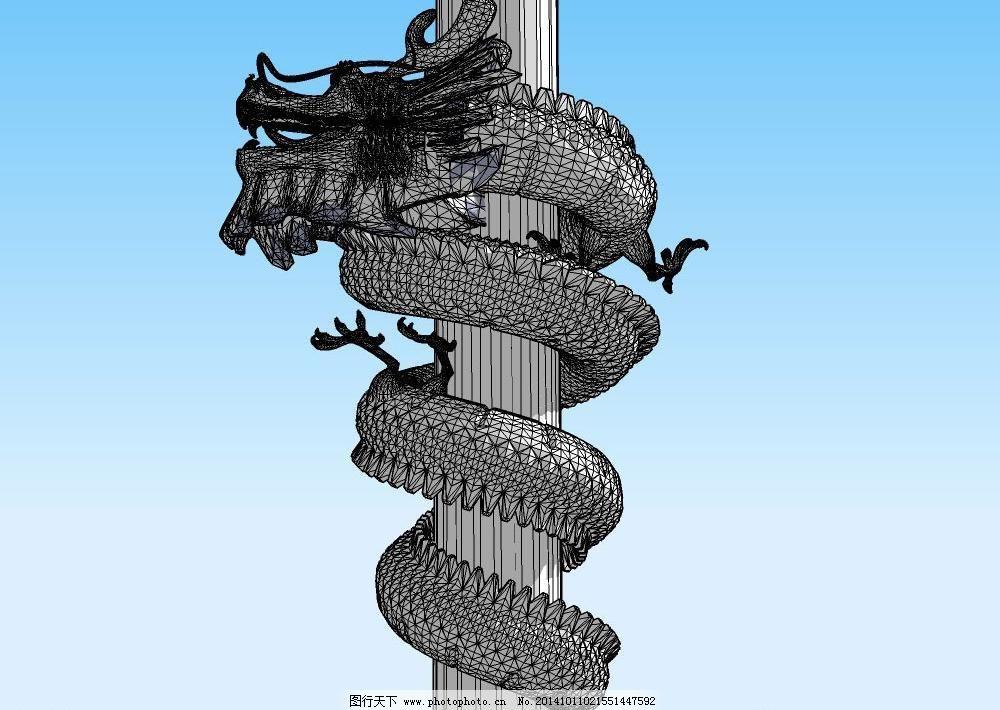 设计模型 skp模型 雕刻 仿古 古典 经典 立体 龙雕 民族风 木雕 龙柱