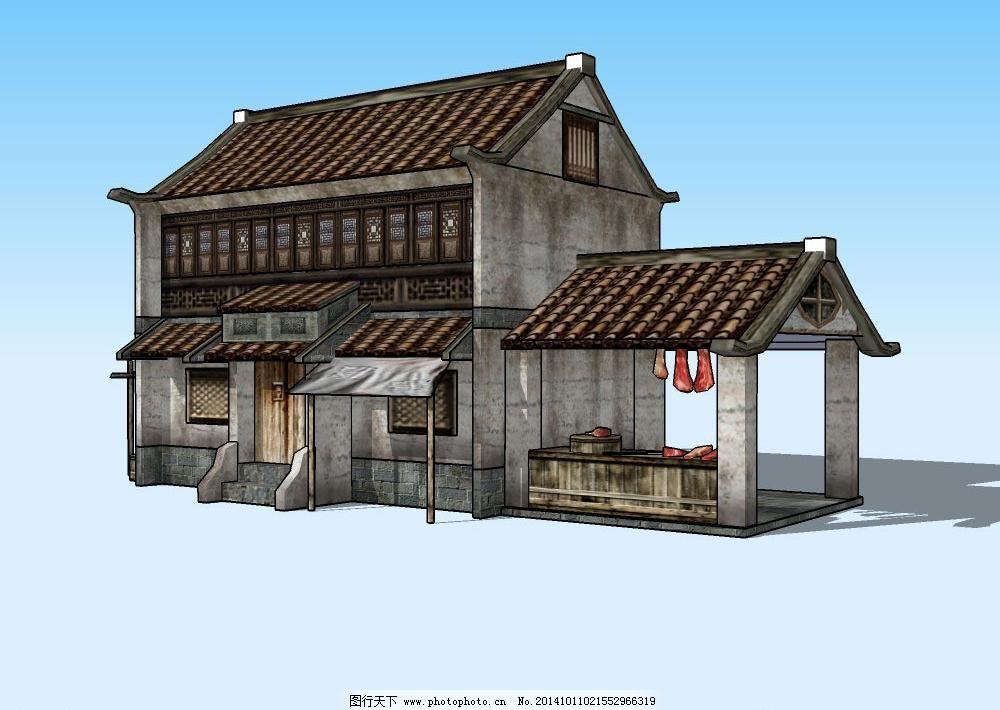 3d设计模型 skp模型 房屋 仿古 经典 立体 楼房 门窗 民族风 三维