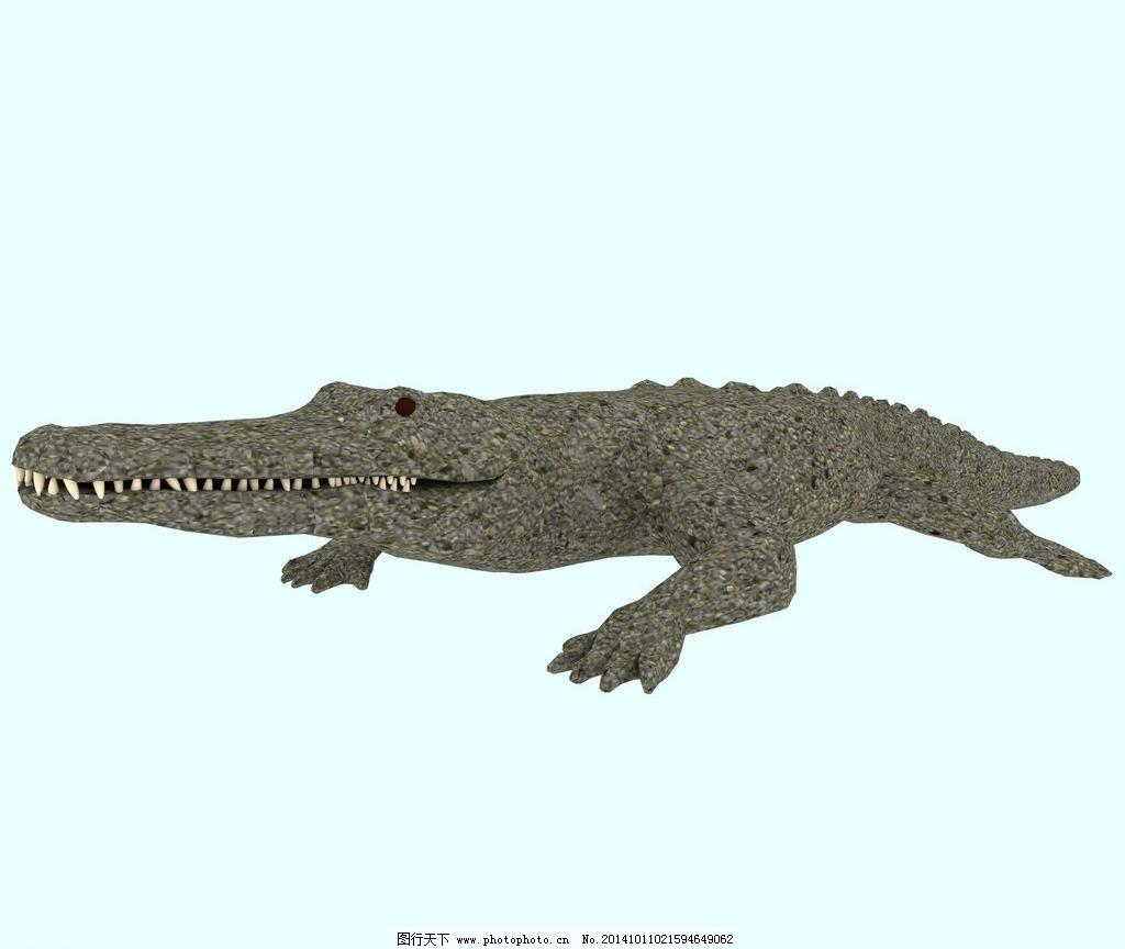 动物模型 鳄鱼 源文件 植物 爬行动物 冷血动物 草图文件 其他模型