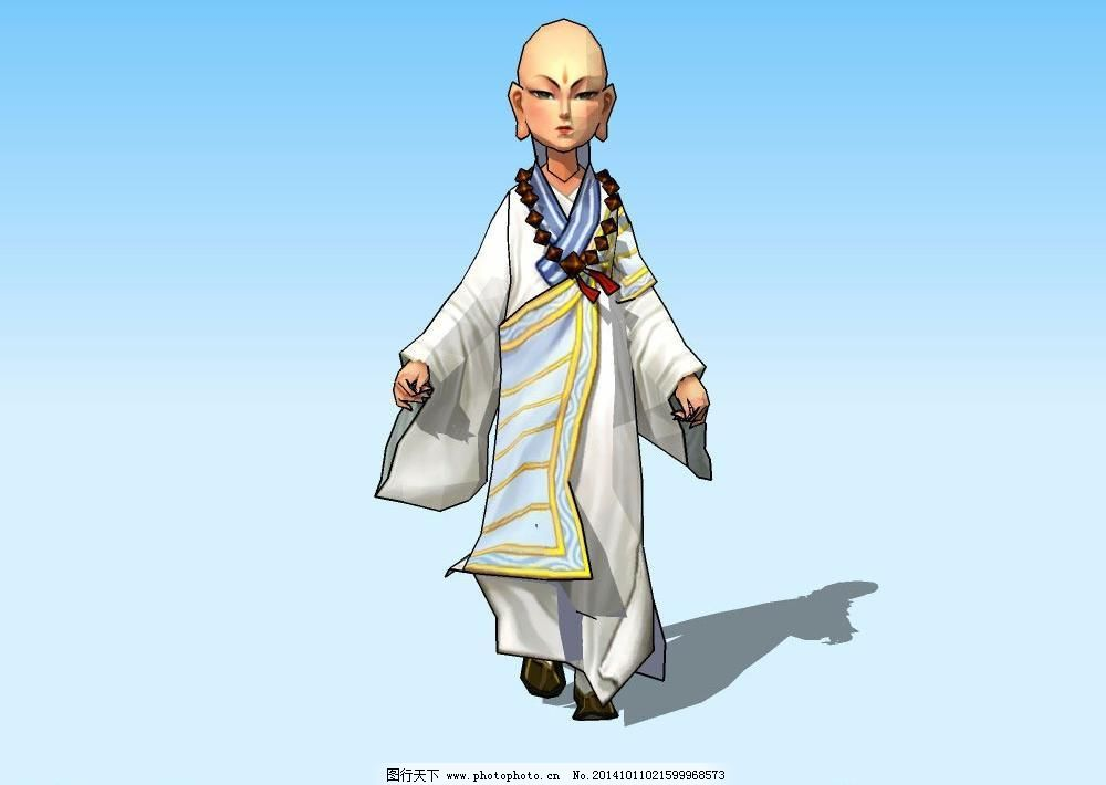 男孩 男人 菩萨 三维 素材 源文件 小和尚3d模型 佛教 宗教 菩萨 男人