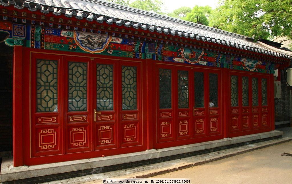 中式建筑 红色的门 古典建筑