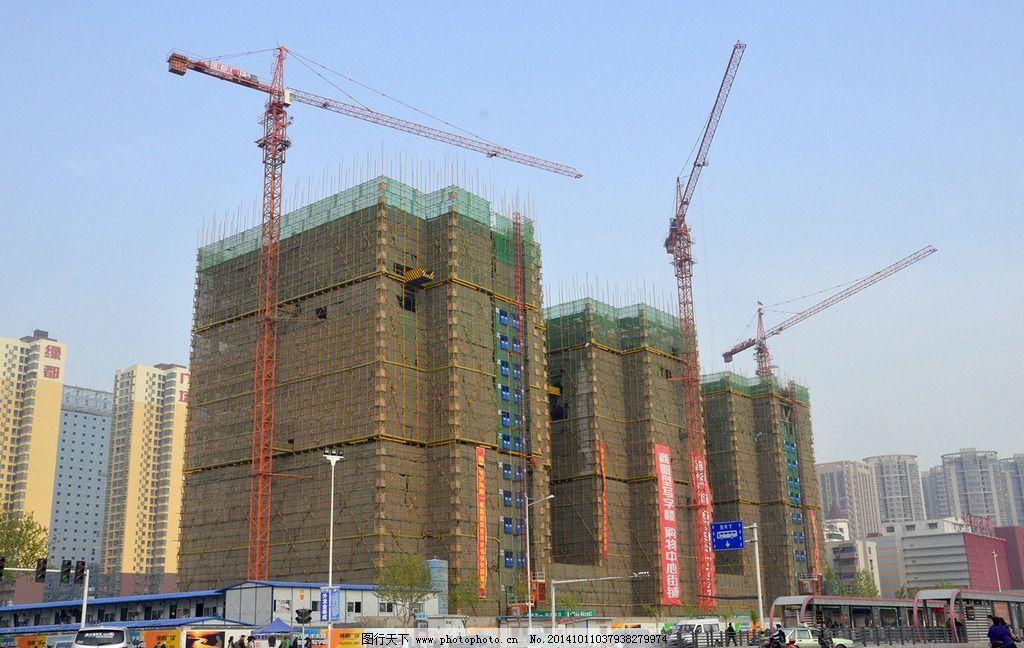 郑州 工地 施工 现场 塔吊 摄影 现代科技 工业生产 300dpi jpg