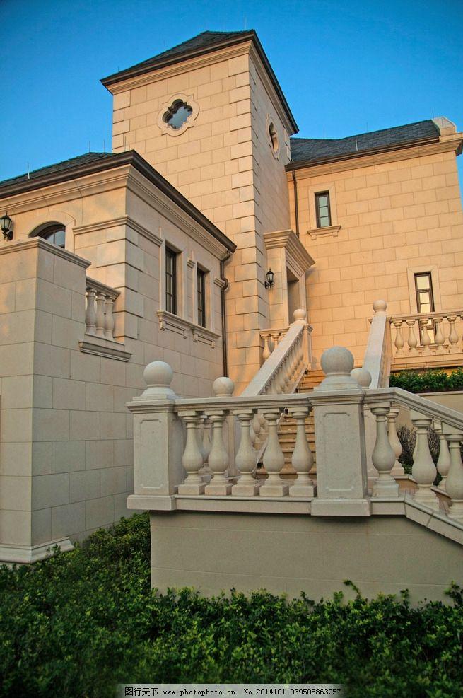 欧式 法式 高贵 建筑 干挂 石材 别墅 独栋 对称 庭院 园林 景观 摄影
