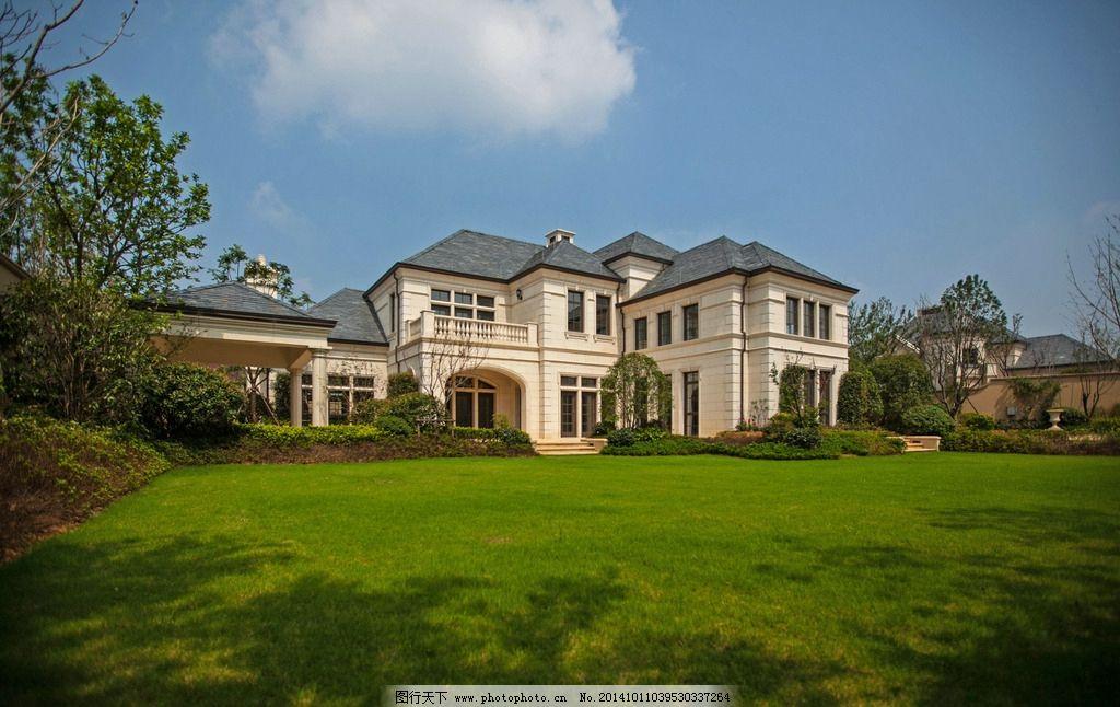 欧式 法式 高贵 建筑 干挂 石材 别墅 独栋 对称 庭院 园林 景观 摄影图片