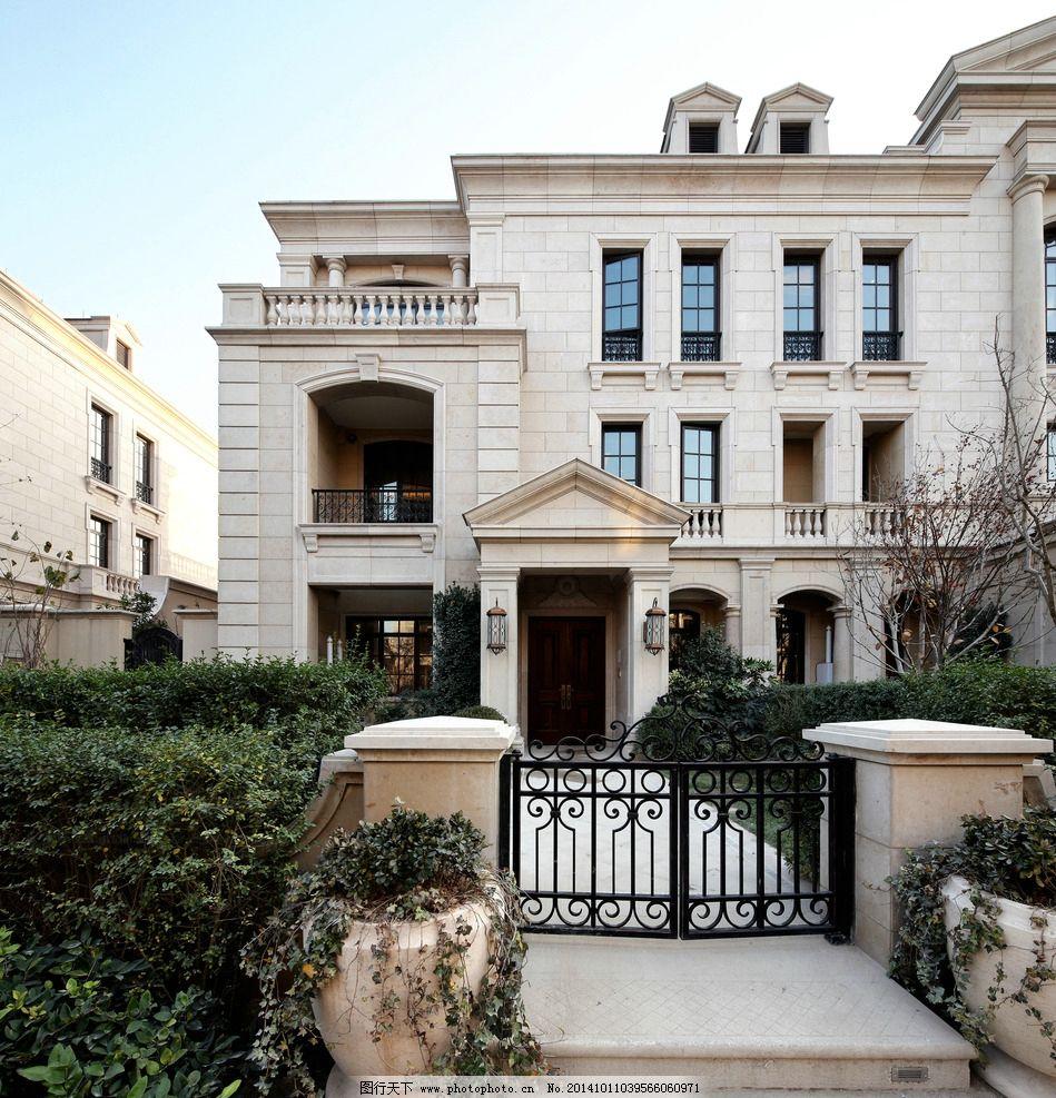 欧式 建筑 干挂 石材 别墅 联排 对称 绿城 庭院 摄影 图片素材 摄影图片