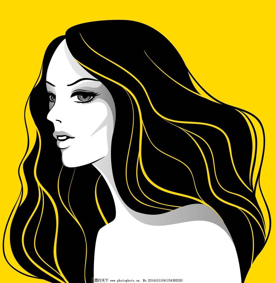 美女发型 手绘少女      理发 女孩 女人 时尚美女 卡通女生 简笔画