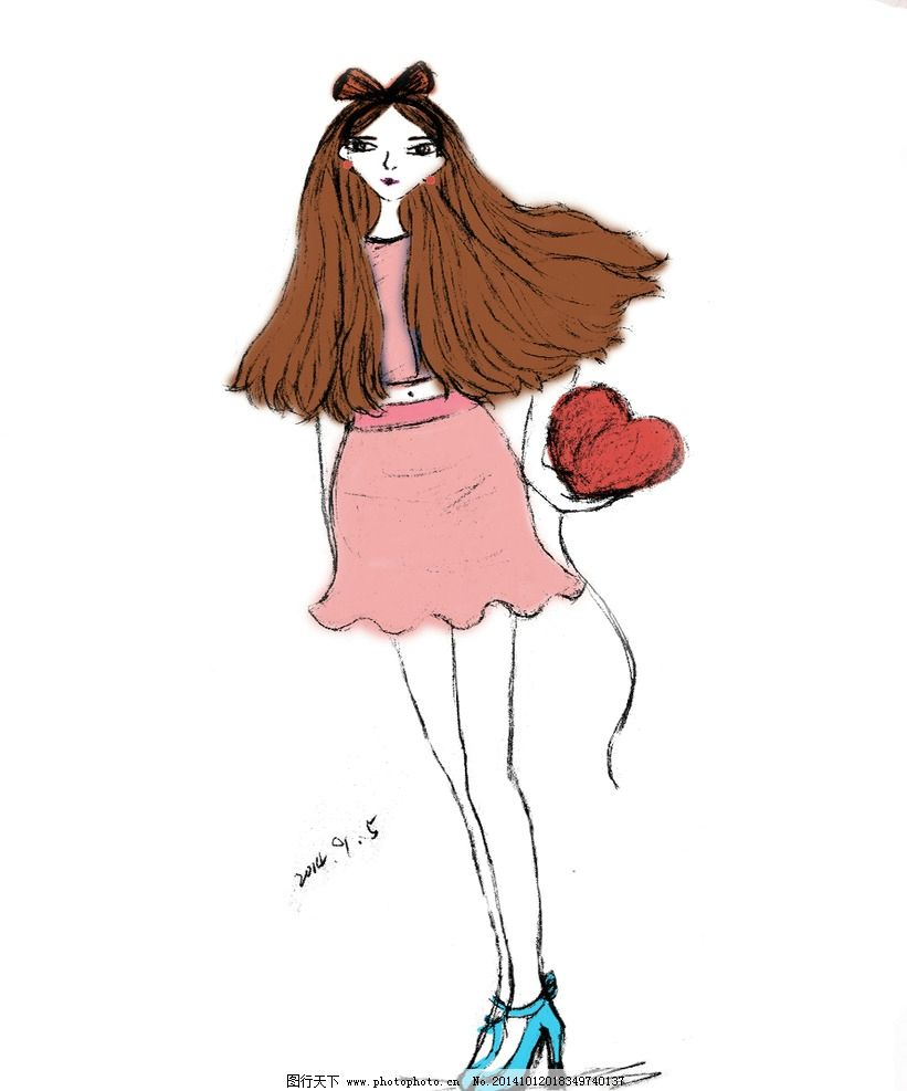 少女 手绘 插画