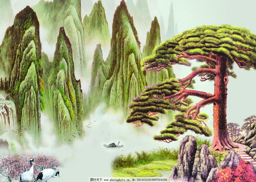 迎客松 仙鹤 红树 山水 风景 国画 jpg 移门 水墨 船 小船 松鹤延年