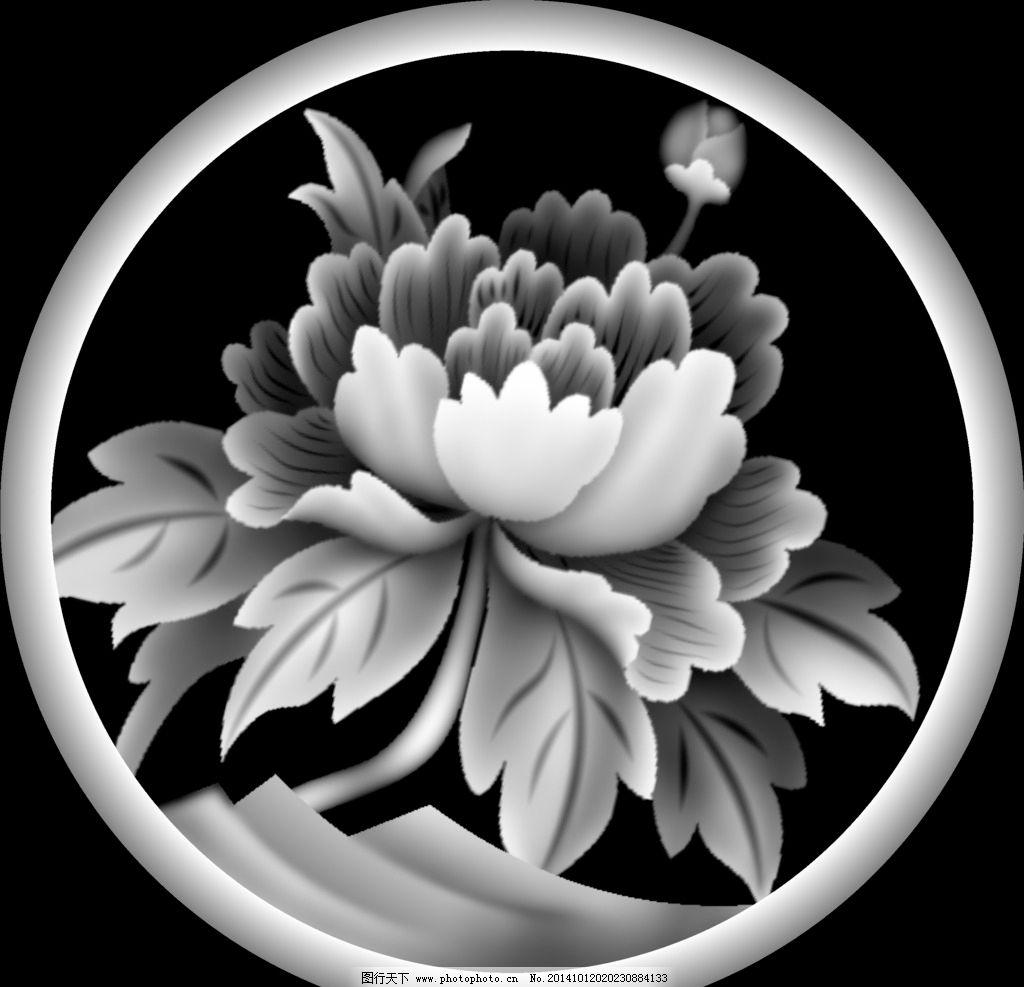 寿材后档 雕刻 灰度图 牡丹 寿材雕刻图片大全 文化艺术 传统文化