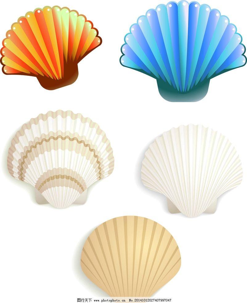 可爱卡通 手绘画 矢量素材 手绘 装饰素材 生物世界 海洋生物 贝壳 海