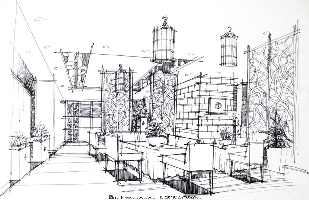 室内效果图 室内手绘 手绘设计 餐厅设计 餐厅手绘