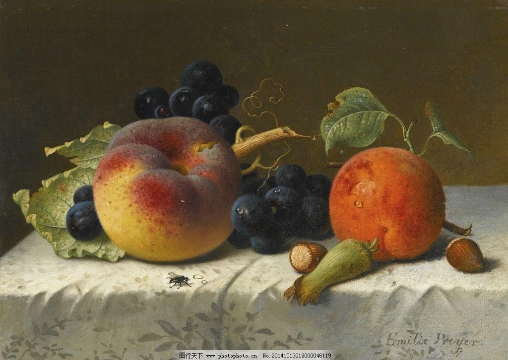 静物 油画 桃子 葡萄      高清 花卉油画 设计 文化艺术 绘画书法