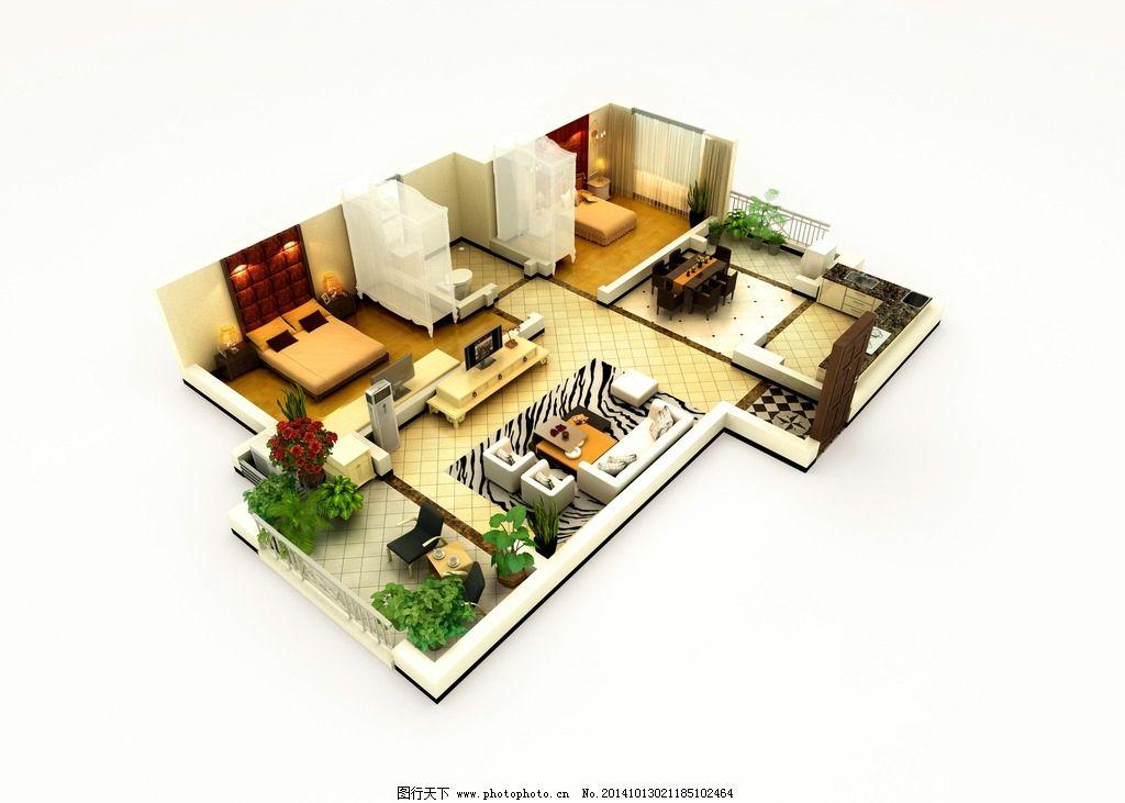 室内效果图 剖面图 缩小 户型图 立体户型图 家具 家居 设计 墨迹素材