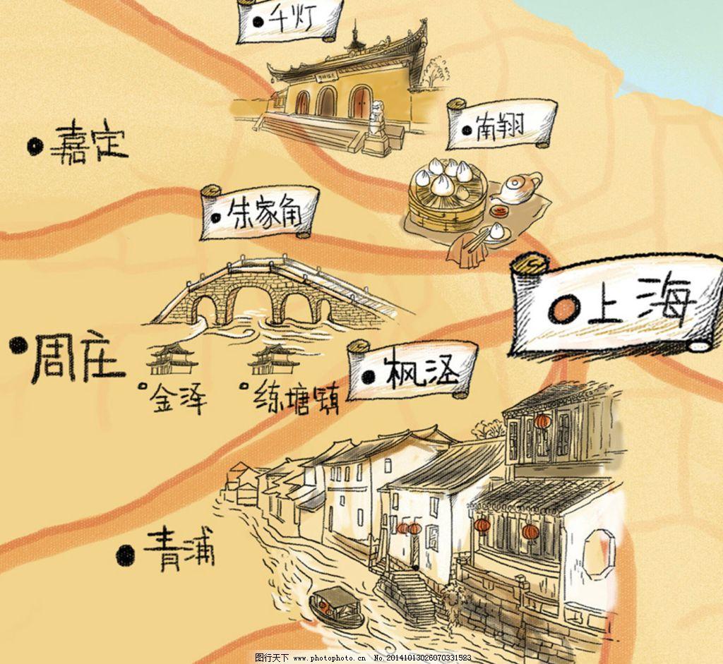 上海周边手绘旅游小图图片