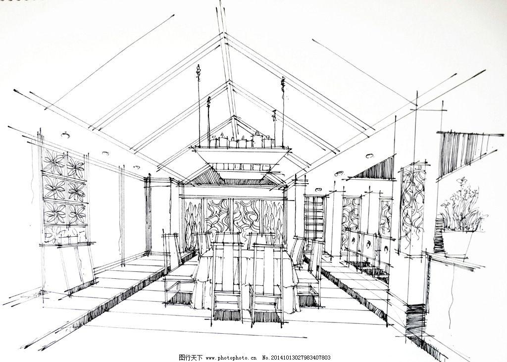 室内效果图 室内手绘 手绘效果图 餐厅设计