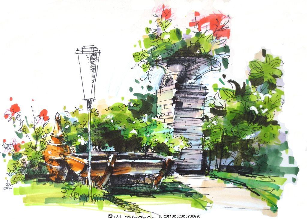 景观手绘 景观小品 景观设计 手绘小品 手绘效果图 设计 环境设计