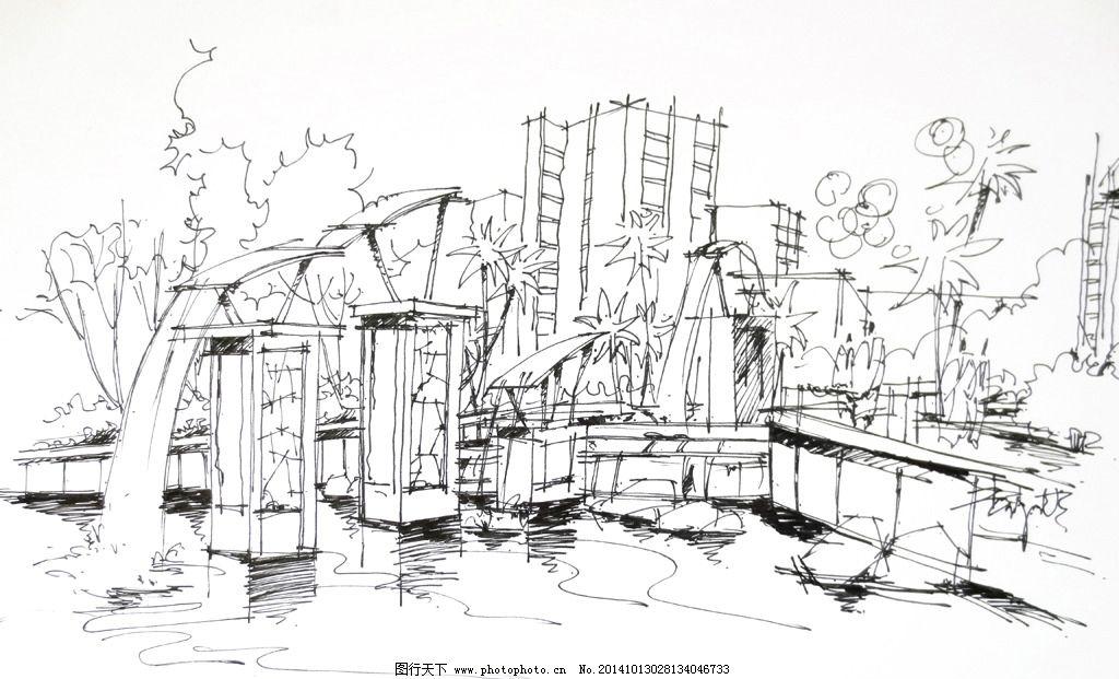 景观设计 水景手绘 景观小品 环境设计 手绘效果图 公园手绘 小区一角