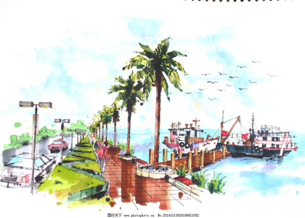 景观设计 景观手绘 手绘船 环境设计 手绘外景 手绘效果图 设计 环境