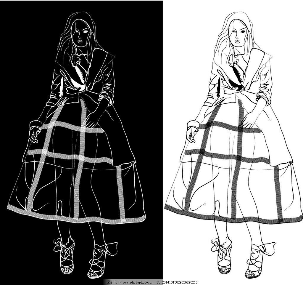 宫廷装插画 黑白线稿 剪影 人物 美女 时装画 飘忽一刻