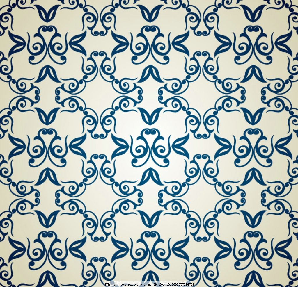 欧式 花纹 蓝色边 曲线 纯底 装饰花纹 设计 其他 图片素材 ai