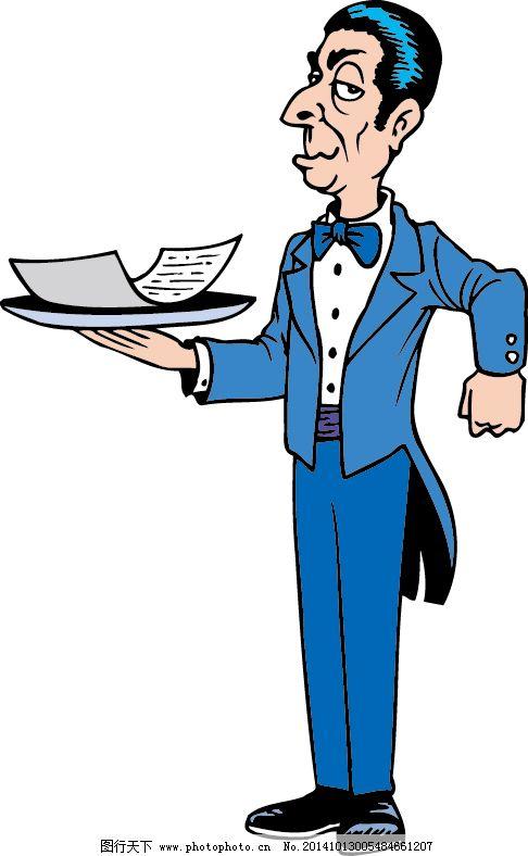 卡通男服务员图片