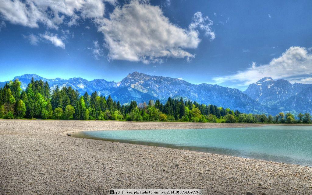 湖泊 湖面 蓝天 白云 森林 树林 风光 自然风景 摄影  摄影 自然景观
