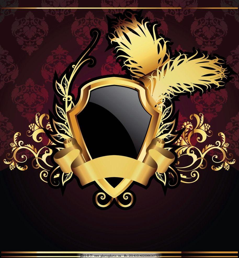 金色标签图片,欧式标签 盾牌 花纹 装饰边框 花边-图