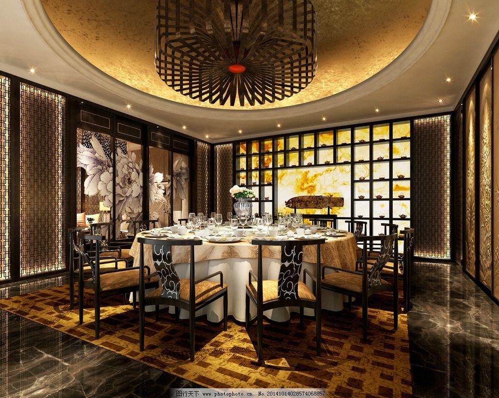 中式餐厅 室内 装潢 工装 家装 室内设计 建筑 酒店 渲染图