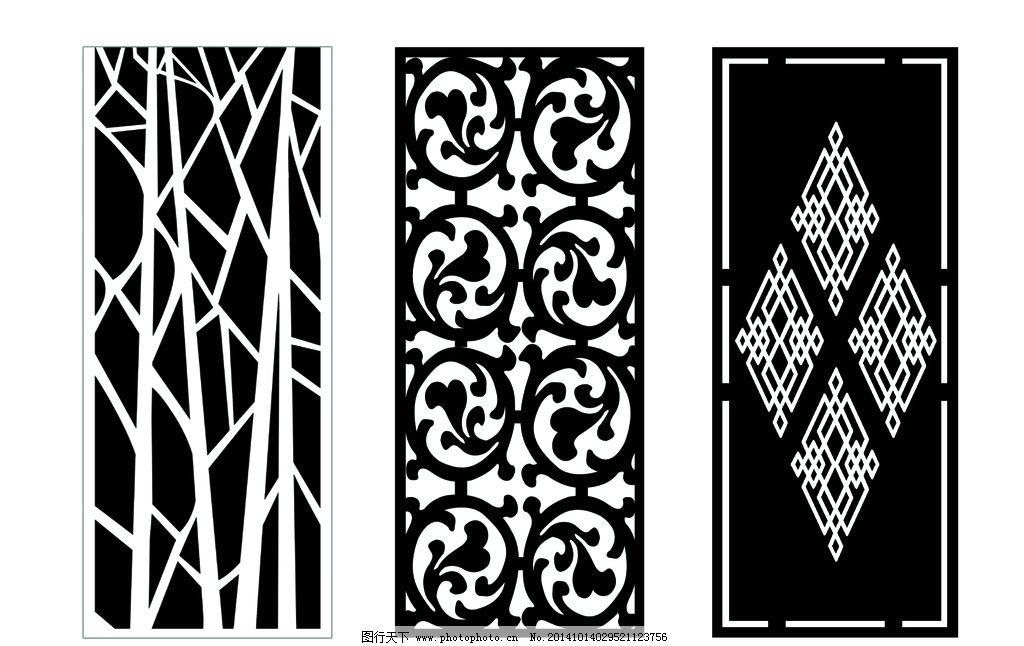 雕刻花纹 雕刻造型 刻花矢量图