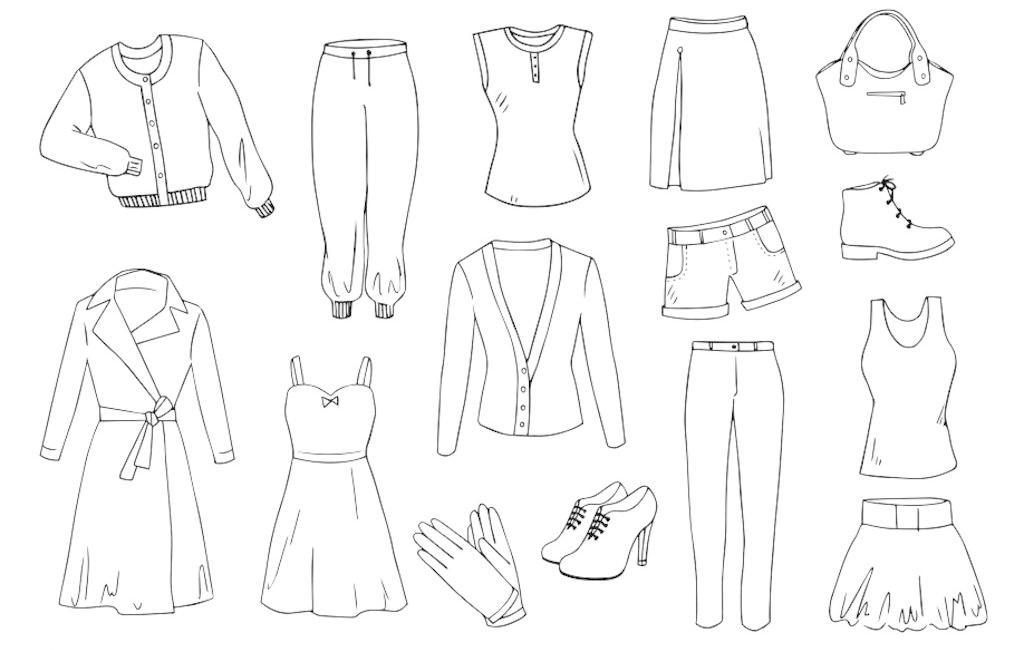 时尚服饰 女性用品 女性 女人 插图 服装插图 卡通 图案 手绘 素描