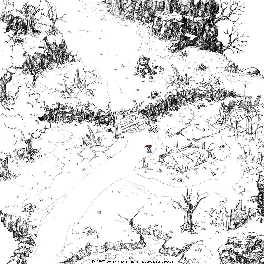游戏场景线稿设计1免费下载 场景 线稿 野外 线稿 场景 野外 原创设计