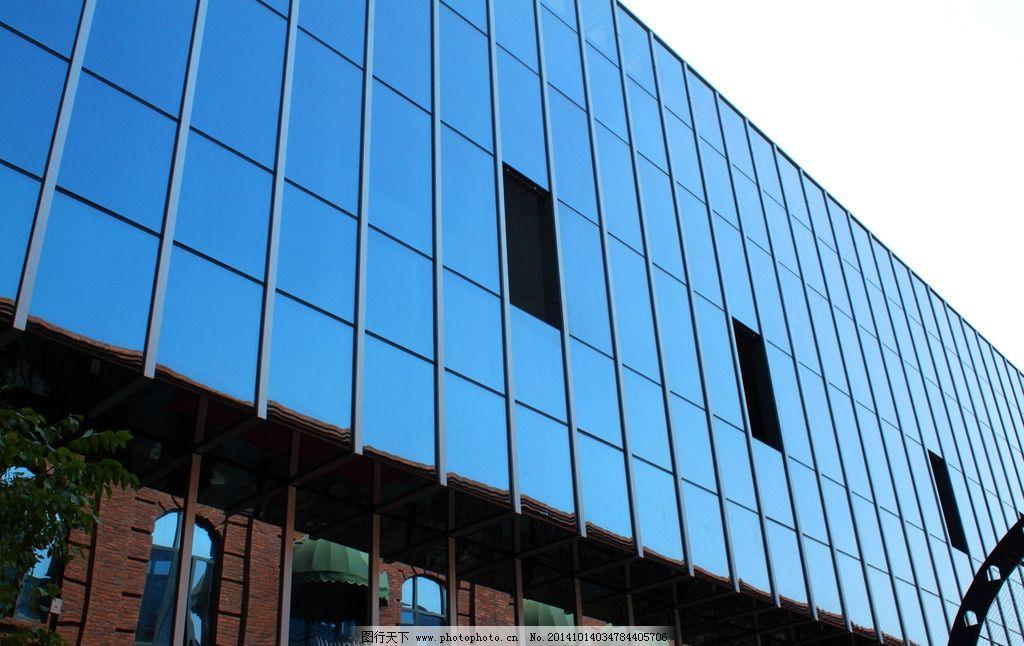 镜面 时尚都市 街道 城市 高楼 楼房 窗户 欧式建筑 建筑 时尚橱窗