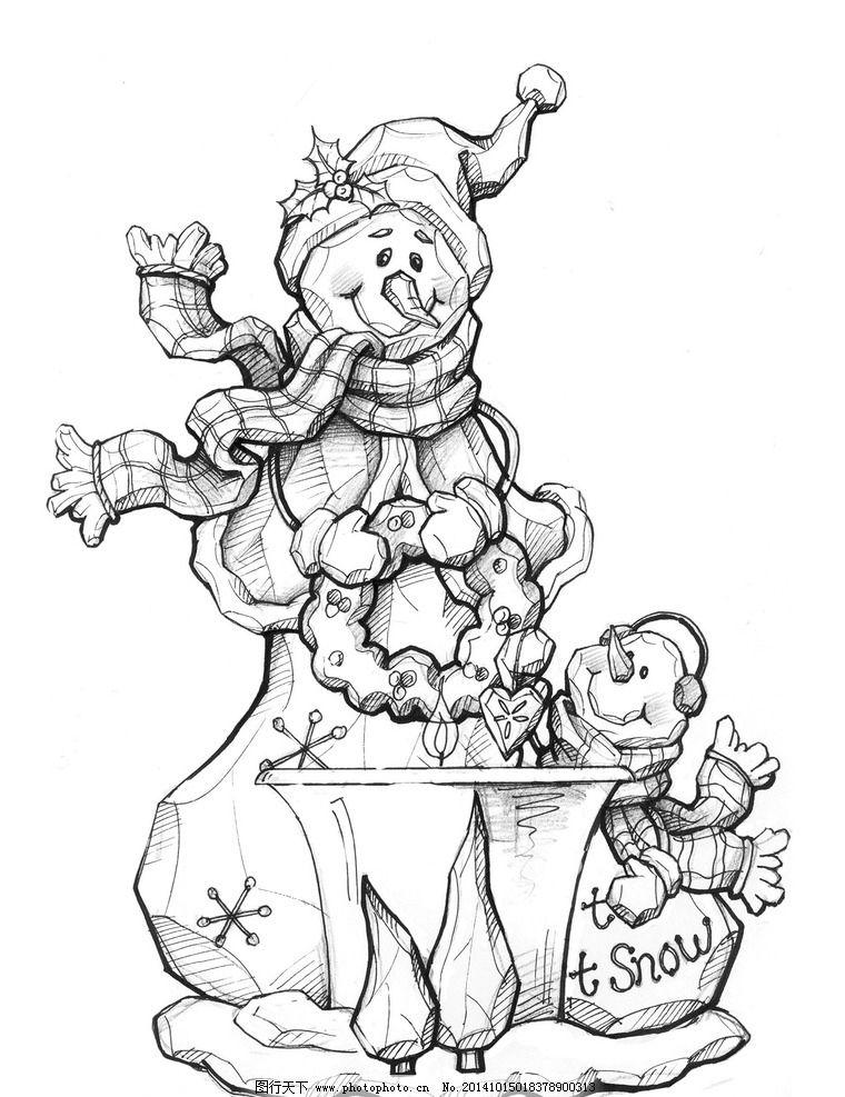 圣诞礼品设计 手绘 摆件 雪人 动漫动画