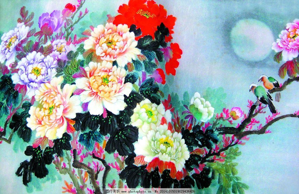 美术 中国画 花鸟画 牡丹花 白头鸟 月亮 设计 文化艺术 绘画书法 180