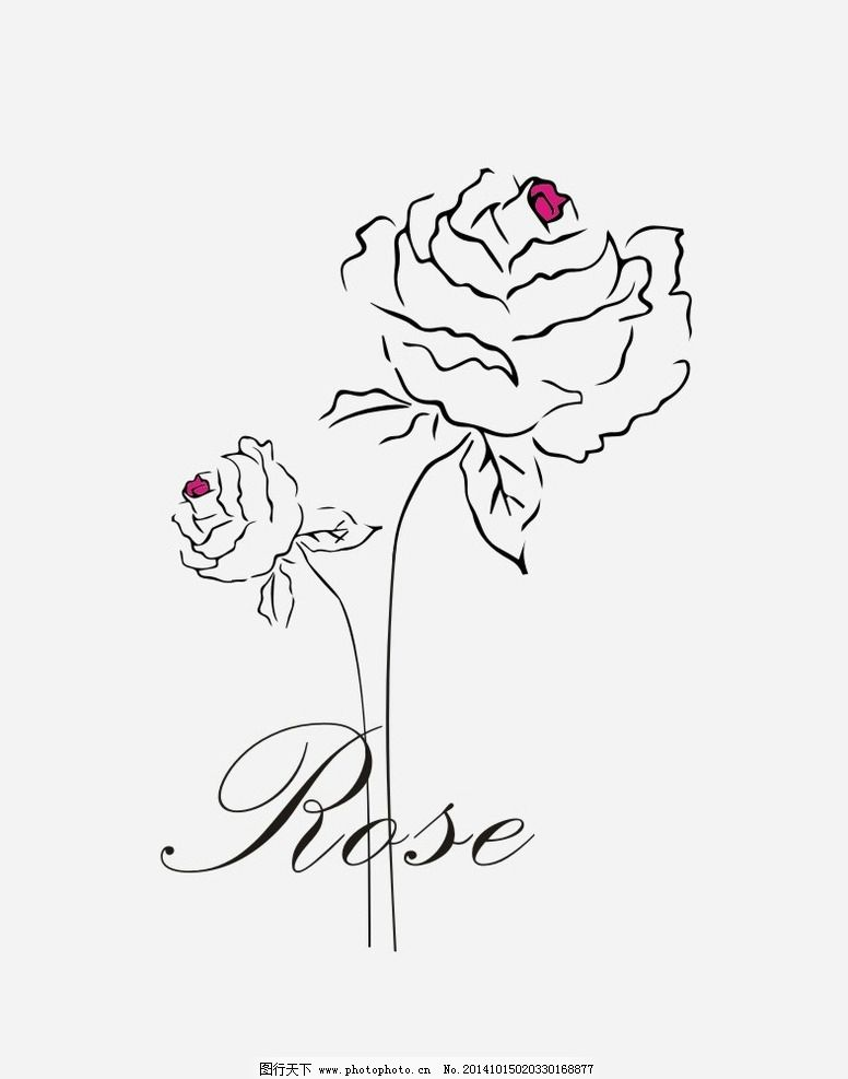 简约红心玫瑰 简约花纹 手绘玫瑰 墙画 底纹 花纹素材 底纹边框