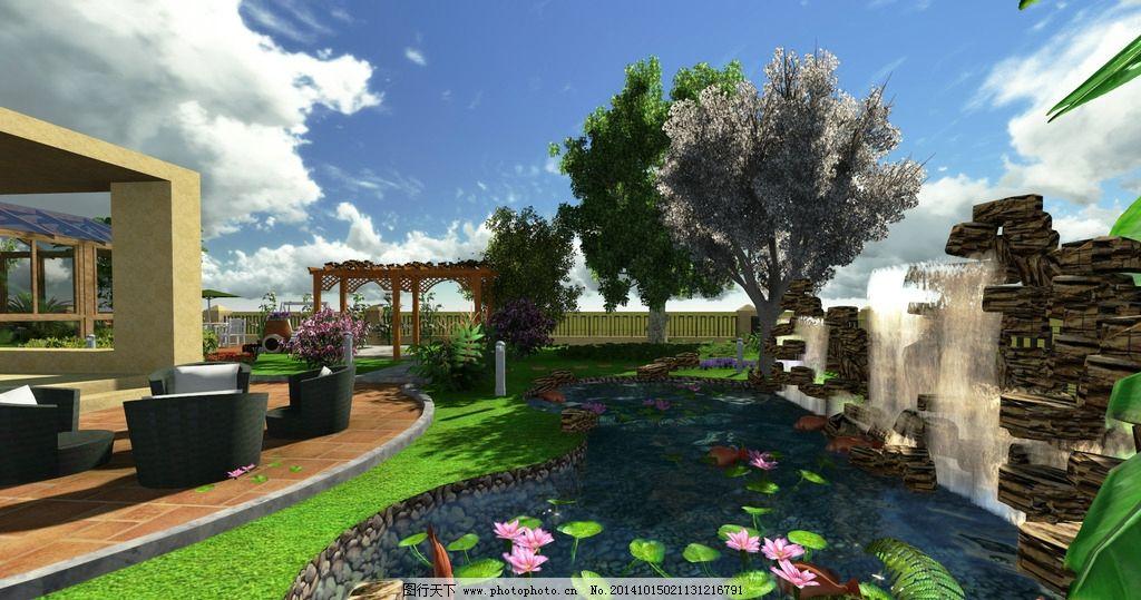 别墅 室外 花园 设计 概念图 别墅设计 设计 3d设计 3d设计 400dpi
