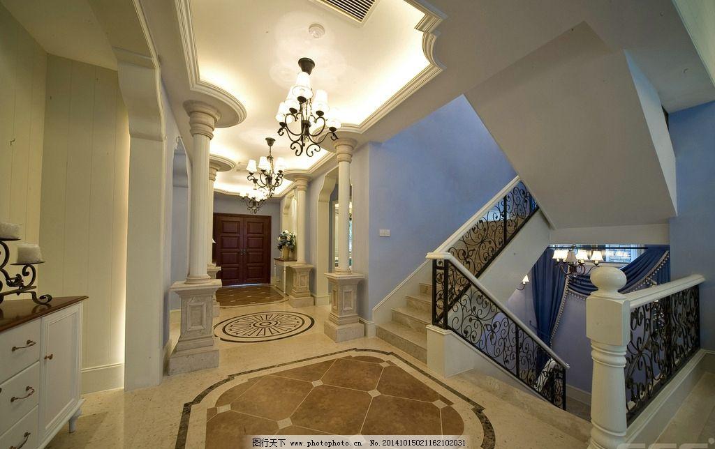 家装效果图 别墅走廊效果 3d效果图 别墅设计 吊顶设计 室内设计 设计图片