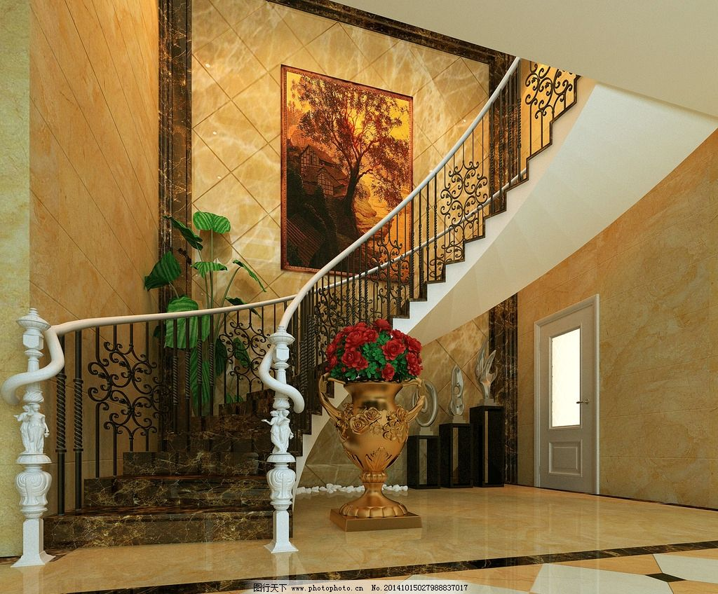 别墅楼梯间图片_室内设计_环境设计_图行天下图库