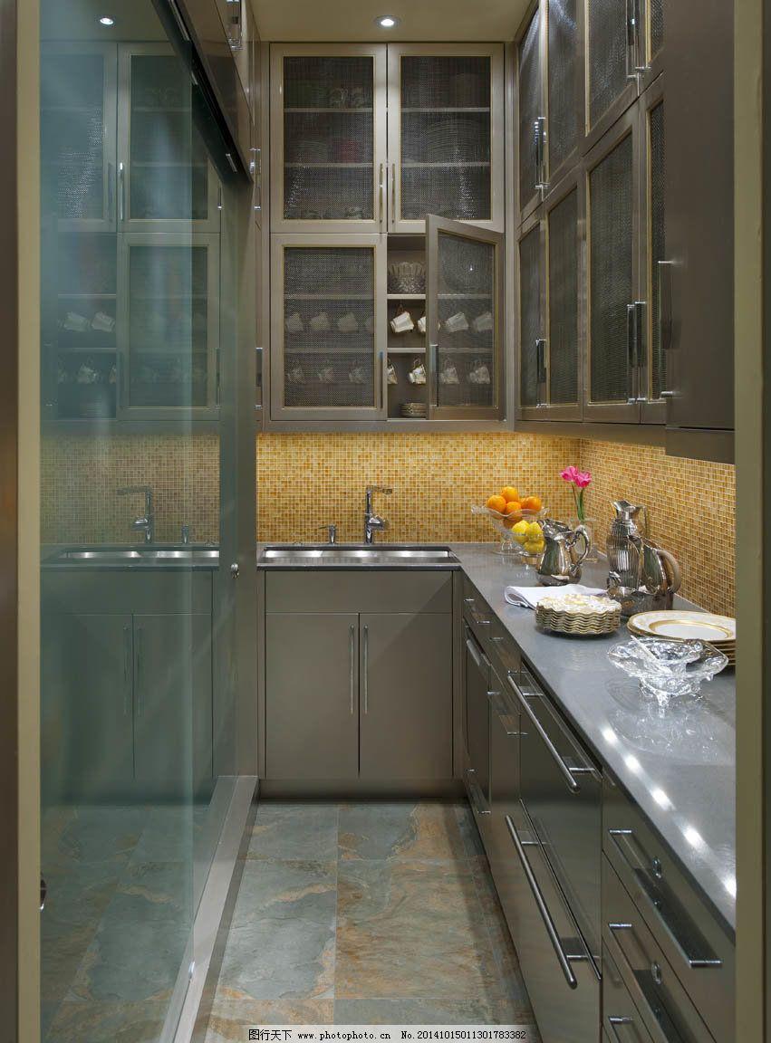 暗色柜子厨房图片