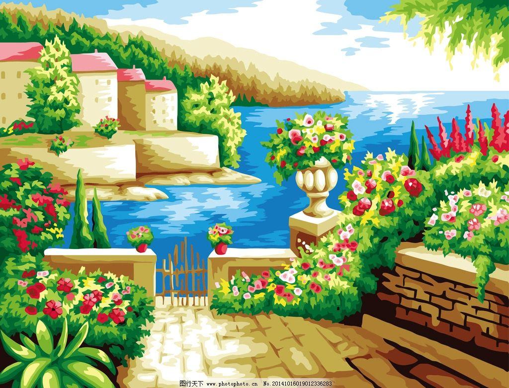 地中海花园 数字油画图片