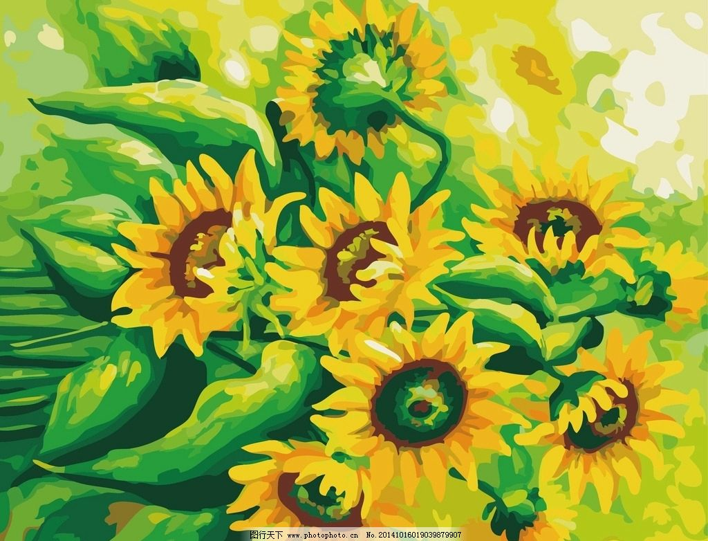 手绘向日葵 数字油画图片