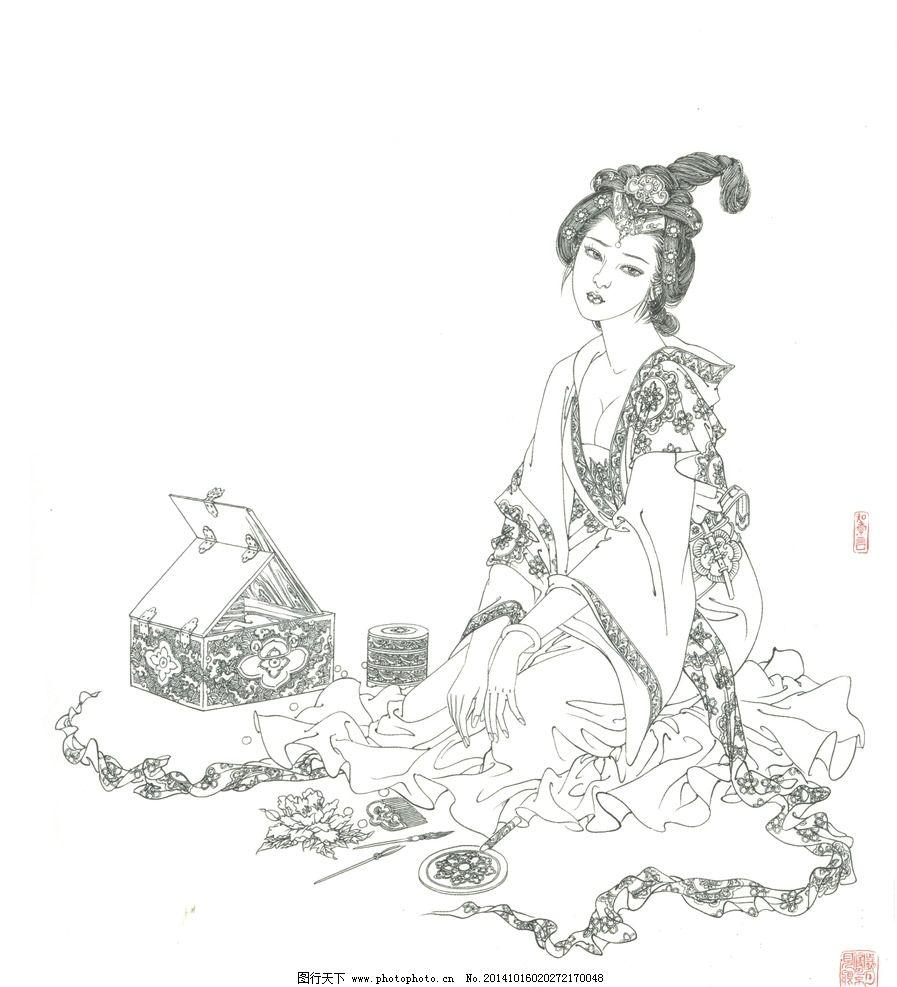 白描古装美人 白描美人 古装美女 白描人物 国画 仕女图 文化艺术