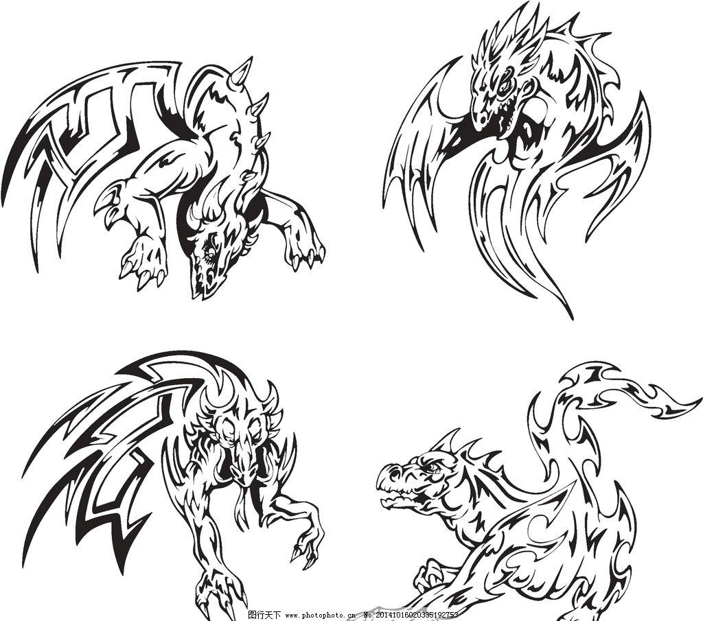 纹身 手绘 图腾 飞龙 翅膀 纹身图案 设计 eps 设计 底纹边框 花边