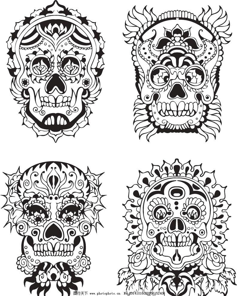 纹身 手 手绘 骷髅 图腾 花纹 纹样 花边 纹身图案