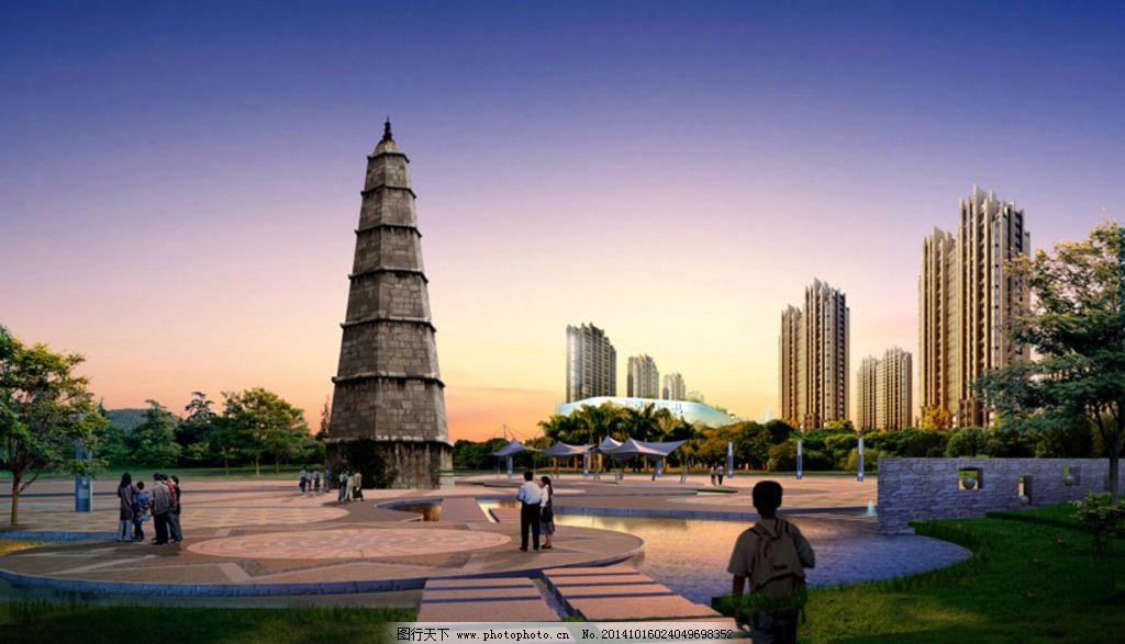 贵州 都匀 公园 文峰塔 灯塔 建筑 天空 园林      素材 设计 自然