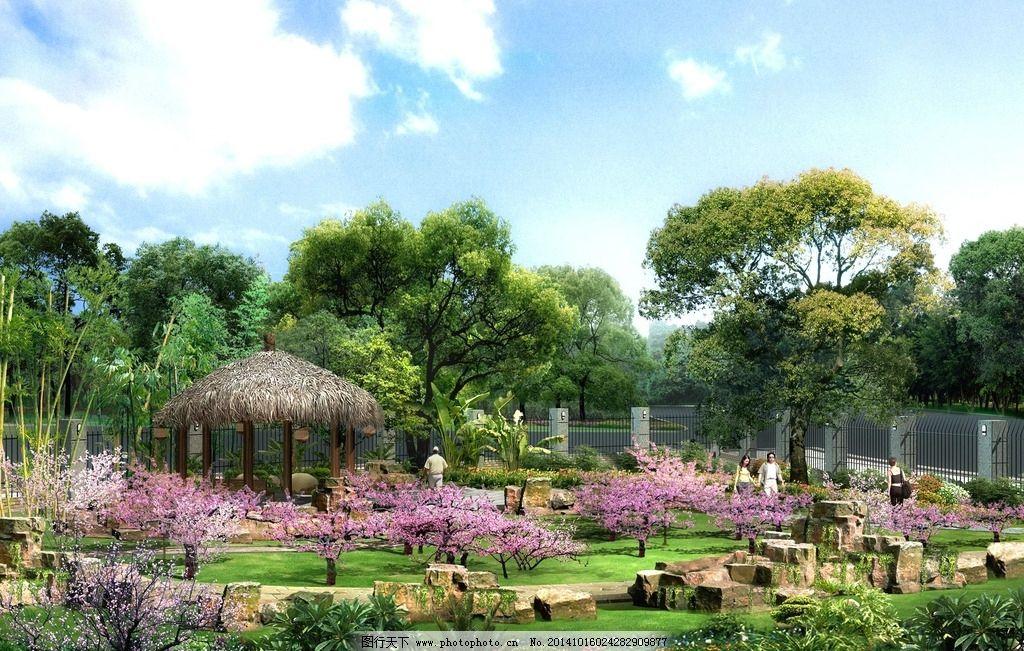 园林 建筑 素材 小品 树木  设计 自然景观 建筑园林 250dpi psd