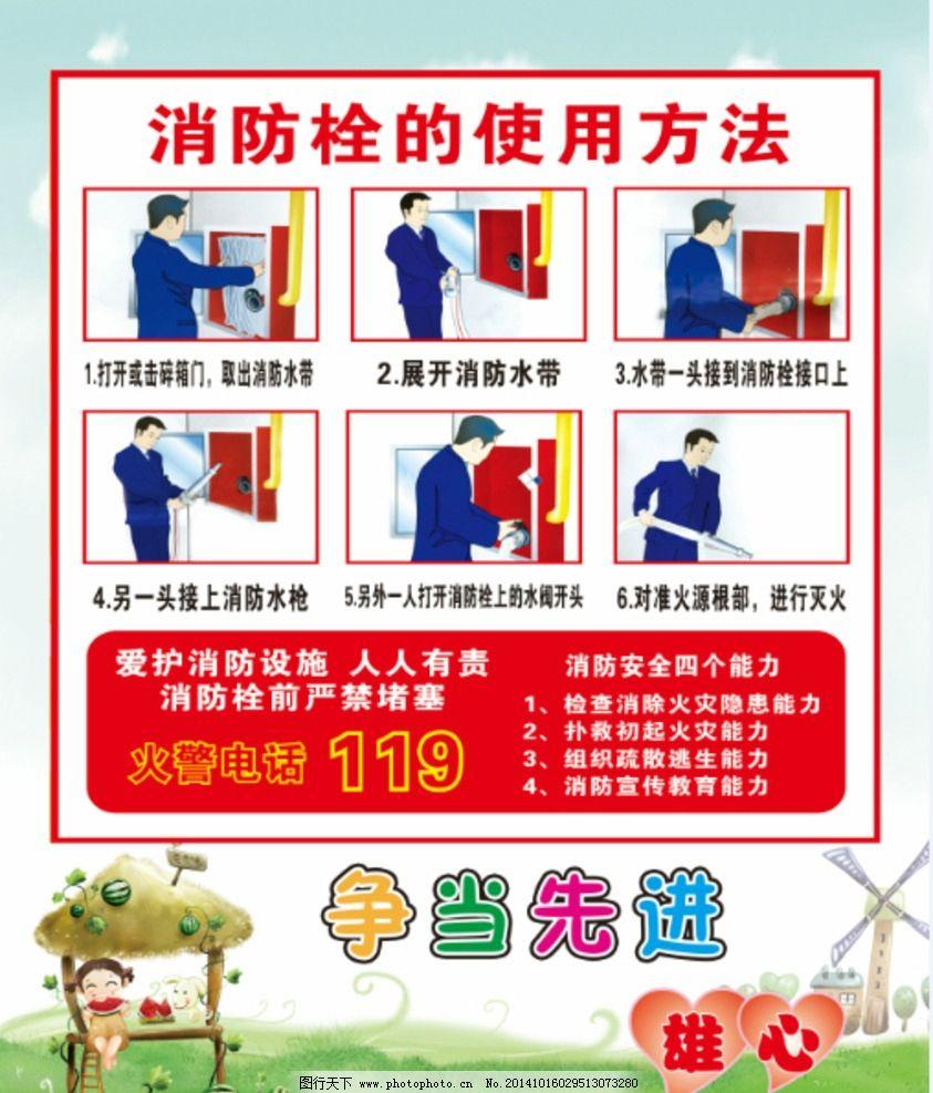 幼儿园 消防栓 儿童 卡通 使用方法 设计 广告设计 广告设计 200dpi