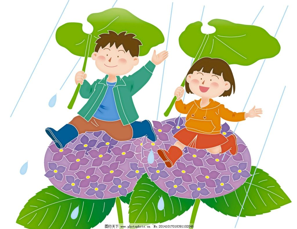 下雨啦 小朋友 雨中的小朋友 小孩子 插画 设计 动漫动画 动漫人物