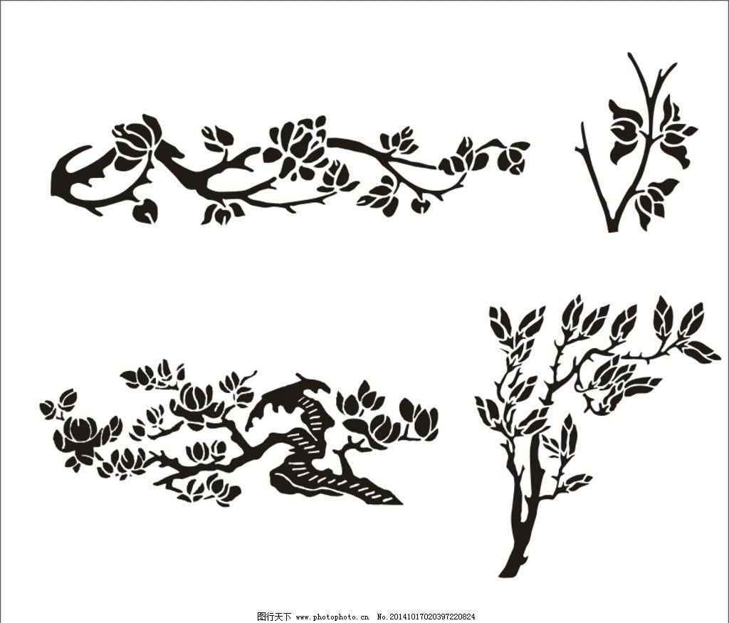 玉兰花 白兰花 玉树临风 望春树 花图案 兰花图腾 花君子 矢量动植物
