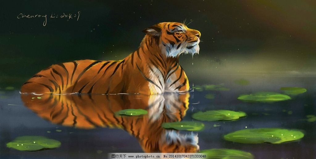 动物 灵气 唯美 虎 倒影 设计 动漫动画 其他 256dpi jpg